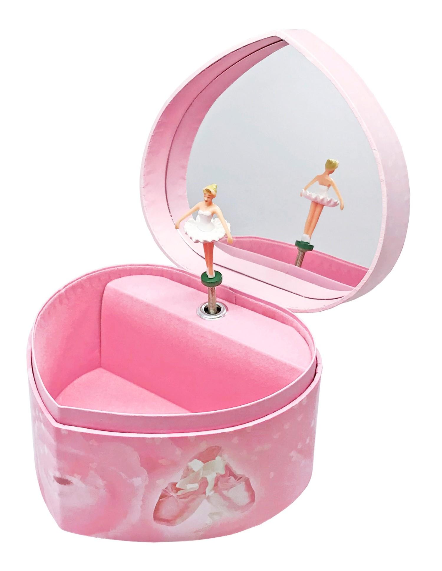 Delaspe Bo/îte /à Musique en Forme de Coeur Ballerine Musicale Fille Figurines /Étui de Rangement de Bijoux pour Filles