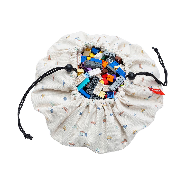 Mini sac à jouets et tapis de jeux 2 en 1 Voitures Play and Go